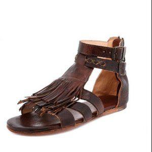 Bed Stu Alena Fringe Sandal in Teak Rustic Size 10